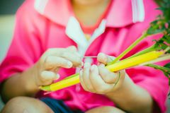 Close-up to kindergarten hands are tied with rubber for to make. Merit and candle light on Makha Bucha Day Stock Image
