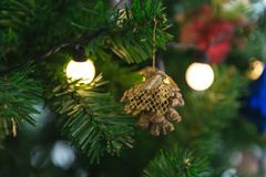 Close up to lights decorations on Christmas tree. Happy New Year and Xmas theme Stock Photo