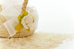 Close up to the little basket of rice for wedding Stock Photography