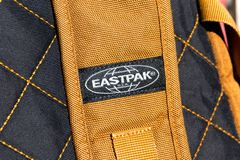 Geneva/Switzerland-09.09.18 : Eastpak bag backpack east pack school logo. Close up to the logo of an eastpak bag stock photos
