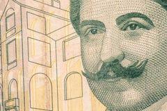 Close up to Mimar Kemaleddin portrait on twenty liras bill. Tone Stock Images