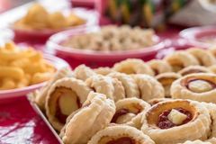 Mini pizzas for parties stock images
