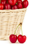 Close up to a red cherries in a basket Royalty Free Stock Photos