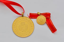 Close up to Turkish traditional gold coin Stock Images