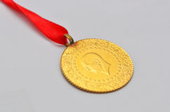 Close up to Turkish traditional gold coin Royalty Free Stock Photo
