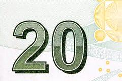 Close up to 20 on  twenty liras bill Stock Photography