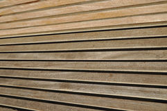 Close up to a Wooden Park Bench Stock Image