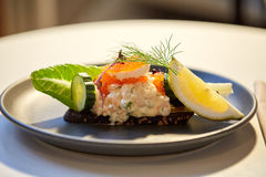 Close up of toast skagen with caviar and bread Royalty Free Stock Images