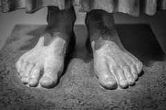Close up of the toes on a foot of a statue Royalty Free Stock Photography