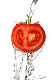 Close up of a tomato. With pouring water royalty free stock photos
