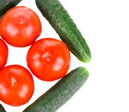 Close up of tomato and cucumber. Royalty Free Stock Photo