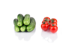 Close up of tomato and cucumber. Royalty Free Stock Photos