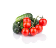Close up of tomato and cucumber. Royalty Free Stock Image