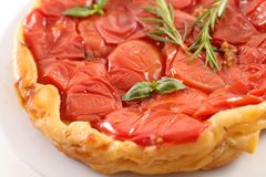 Tomato quiche tatin. Close up on tomato quiche tatin Stock Image