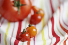 Close-up of tomatoes on tablecloth. Tomatoes on tablecloth (close-up Stock Image