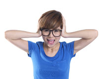Close up of tomboy asian chinese girl in panic mode Stock Photos