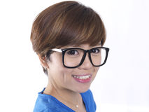 Close up of tomboy asian chinese girl wearing spectacles Stock Image