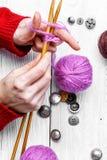 Close-up of tool knitting royalty free stock photo