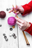 Close-up of tool knitting Royalty Free Stock Photos