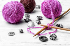 Close-up of tool knitting stock photography