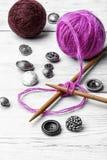 Close-up of tool knitting stock photo