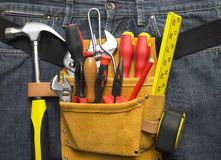 Close-Up Of Toolbelt. On jeans Stock Images