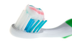 Close-up tooth-brush with color paste Stock Photos