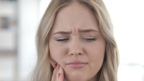 Close up of Toothache, Woman with Tooth Pain stock footage
