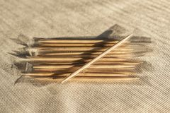 Close up toothpick for tooth cleaning after meals royalty free stock photos
