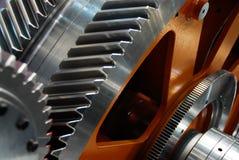 Close up toothy do engrenagem-pinhão da conexão da cremalheira imagens de stock royalty free