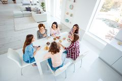 Close up top above high angle view photo beautiful she her ladies drinking hot beverage best friends sit round big table. Close up top above high angle view stock images