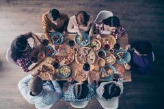 Close up top above high angle view photo festive company social crowd event birthday members share eating process royalty free stock image