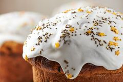 Close-up top of Easter bread with sugar glaze and sugar sprinkles stock photography