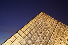 Close-up top of illuminated Louvre pyramid Royalty Free Stock Photo
