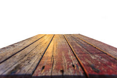Close up Top of old wooden table isolated on white Royalty Free Stock Image