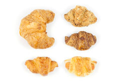 Close up top side five croissant. On white background Royalty Free Stock Images