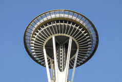 Close up of the top of the Space Needle Stock Photography