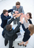 Close up top view of business people putting their hands togethe Stock Photography