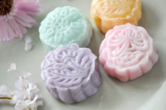 Close up Top View of Colorful Mooncake Royalty Free Stock Photo