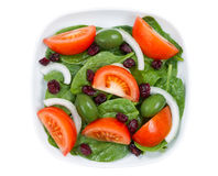 Close up Top View of Fresh Salad in plate isolated on white Royalty Free Stock Photo