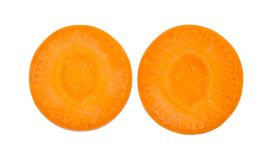 Close up top view of fresh two carrot slice isolated on white background, File contains a clipping path.  Stock Photos
