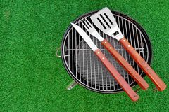 Close-up Top View Of Grill Tolls On The BBQ Appliance stock image