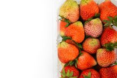Close up top-view near ripe red strawberry in plastic transparency pack, isolated on white background, copy space write. Close up top-view near ripe red Stock Photos