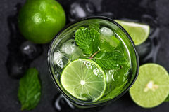 Close up top view or overhead shot of  the fresh mojito cocktail Royalty Free Stock Photo
