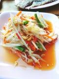 Close up top view papaya salad or Som tam in Thai street food royalty free stock image