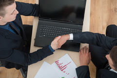 Close-up top-view photo of handshake Stock Photography