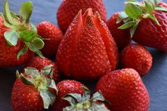 Close up top view of strawberry fruits stock photo