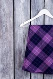 Close up top view wool purple clothes. stock image