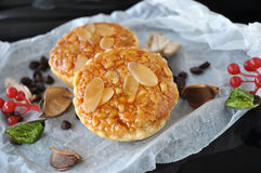 Close up Topping of Almonds Tart Royalty Free Stock Images