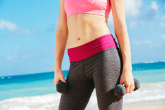 Close-up of torso of fitness woman Royalty Free Stock Photo